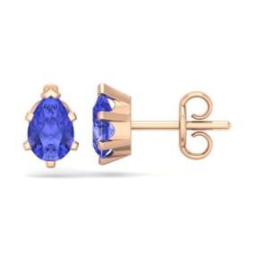 1 Carat Pear Shape Tanzanite Stud Earrings In 14K Rose Gold Over Sterling Silver