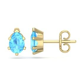 1 Carat Pear Shape Blue Topaz Stud Earrings In 14K Yellow Gold Over Sterling Silver