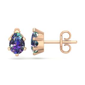 1 Carat Pear Shape Mystic Topaz Stud Earrings In 14K Rose Gold Over Sterling Silver