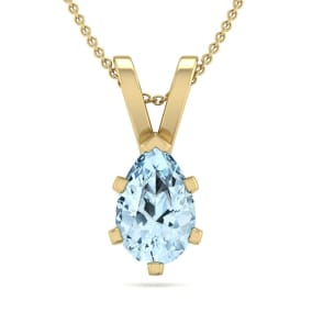 3/4 Carat Pear Shape Aquamarine Necklace In 14K Yellow Gold Over Sterling Silver, 18 Inches