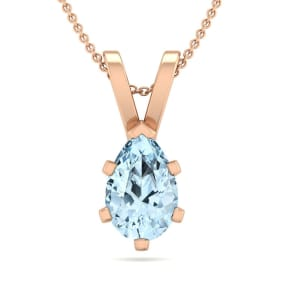3/4 Carat Pear Shape Aquamarine Necklace In 14K Rose Gold Over Sterling Silver, 18 Inches