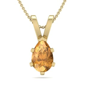 3/4 Carat Pear Shape Citrine Necklace In 14K Yellow Gold Over Sterling Silver, 18 Inches