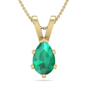 3/4 Carat Pear Shape Emerald Necklace In 14K Yellow Gold Over Sterling Silver, 18 Inches