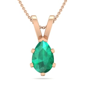 3/4 Carat Pear Shape Emerald Necklace In 14K Rose Gold Over Sterling Silver, 18 Inches
