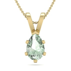 3/4 Carat Pear Shape Green Amethyst Necklace In 14K Yellow Gold Over Sterling Silver, 18 Inches