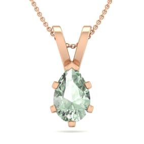 3/4 Carat Pear Shape Green Amethyst Necklace In 14K Rose Gold Over Sterling Silver, 18 Inches