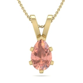 3/4 Carat Pear Shape Morganite Necklace In 14K Yellow Gold Over Sterling Silver, 18 Inches