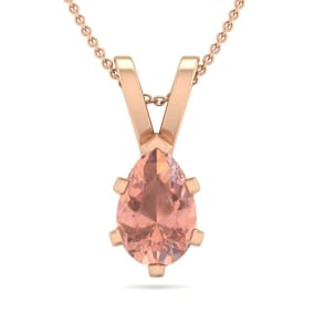 3/4 Carat Pear Shape Morganite Necklace In 14K Rose Gold Over Sterling Silver, 18 Inches