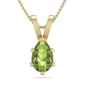 1 Carat Pear Shape Peridot Necklace In 14K Yellow Gold Over Sterling Silver, 18 Inches