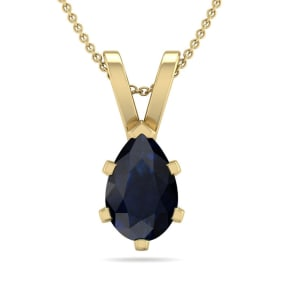 1 Carat Pear Shape Sapphire Necklace In 14K Yellow Gold Over Sterling Silver, 18 Inches