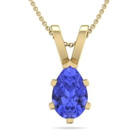 1 Carat Pear Shape Tanzanite Necklace In 14K Yellow Gold Over Sterling Silver, 18 Inches