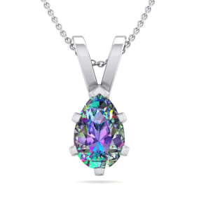 3/4 Carat Pear Shape Mystic Topaz Necklace In Sterling Silver, 18 Inches