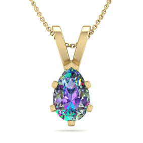 3/4 Carat Pear Shape Mystic Topaz Necklace In 14K Yellow Gold Over Sterling Silver, 18 Inches