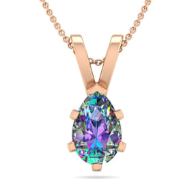 3/4 Carat Pear Shape Mystic Topaz Necklace In 14K Rose Gold Over Sterling Silver, 18 Inches