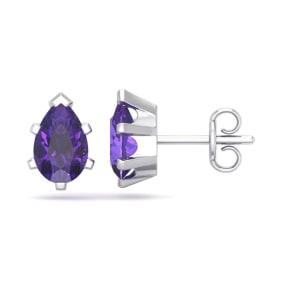 1 1/2 Carat Pear Shape Amethyst Stud Earrings In Sterling Silver
