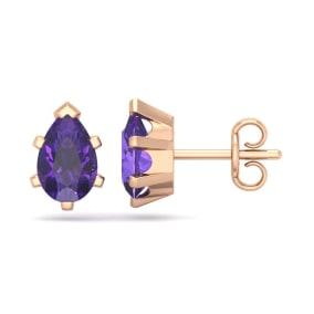 1 1/2 Carat Pear Shape Amethyst Stud Earrings In 14K Rose Gold Over Sterling Silver