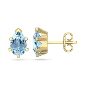 1 1/2 Carat Pear Shape Aquamarine Stud Earrings In 14K Yellow Gold Over Sterling Silver