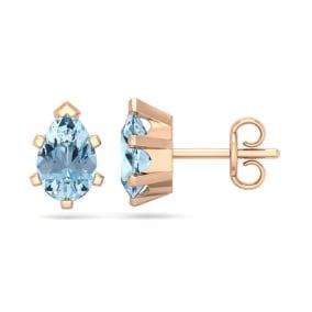 1 1/2 Carat Pear Shape Aquamarine Stud Earrings In 14K Rose Gold Over Sterling Silver