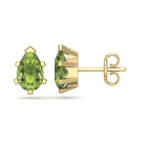 1 3/4 Carat Pear Shape Peridot Stud Earrings In 14K Yellow Gold Over Sterling Silver