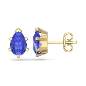 2 Carat Pear Shape Tanzanite Stud Earrings In 14K Yellow Gold Over Sterling Silver