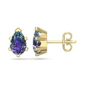 1 1/2 Carat Pear Shape Mystic Topaz Stud Earrings In 14K Yellow Gold Over Sterling Silver
