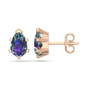 1 1/2 Carat Pear Shape Mystic Topaz Stud Earrings In 14K Rose Gold Over Sterling Silver