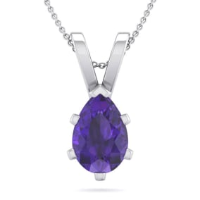 1 Carat Pear Shape Amethyst Necklace In Sterling Silver, 18 Inches