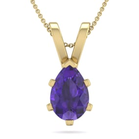 1 Carat Pear Shape Amethyst Necklace In 14K Yellow Gold Over Sterling Silver, 18 Inches
