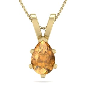 1 Carat Pear Shape Citrine Necklace In 14K Yellow Gold Over Sterling Silver, 18 Inches