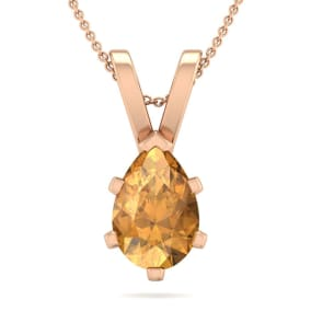 1 Carat Pear Shape Citrine Necklace In 14K Rose Gold Over Sterling Silver, 18 Inches