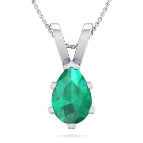 1 Carat Pear Shape Emerald Necklace In Sterling Silver, 18 Inches