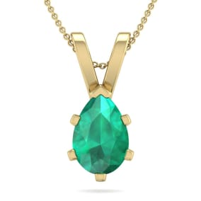 1 Carat Pear Shape Emerald Necklace In 14K Yellow Gold Over Sterling Silver, 18 Inches