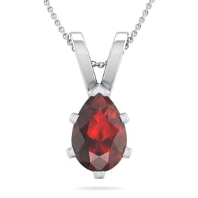 1 1/2 Carat Pear Shape Garnet Necklace In Sterling Silver, 18 Inches