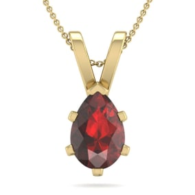1 1/2 Carat Pear Shape Garnet Necklace In 14K Yellow Gold Over Sterling Silver, 18 Inches