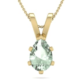 1 Carat Pear Shape Green Amethyst Necklace In 14K Yellow Gold Over Sterling Silver, 18 Inches