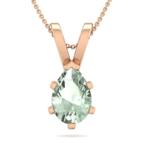 1 Carat Pear Shape Green Amethyst Necklace In 14K Rose Gold Over Sterling Silver, 18 Inches