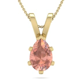 1 Carat Pear Shape Morganite Necklace In 14K Yellow Gold Over Sterling Silver, 18 Inches