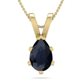 1 1/2 Carat Pear Shape Sapphire Necklace In 14K Yellow Gold Over Sterling Silver, 18 Inches