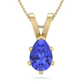 1 1/3 Carat Pear Shape Tanzanite Necklace In 14K Yellow Gold Over Sterling Silver, 18 Inches