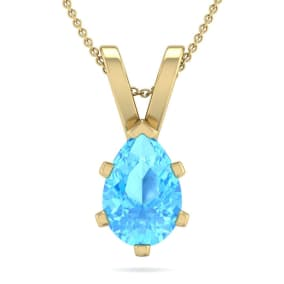 1 1/2 Carat Pear Shape Blue Topaz Necklace In 14K Yellow Gold Over Sterling Silver, 18 Inches