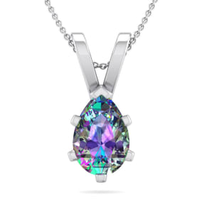 1 Carat Pear Shape Mystic Topaz Necklace In Sterling Silver, 18 Inches