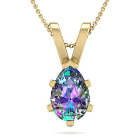 1 Carat Pear Shape Mystic Topaz Necklace In 14K Yellow Gold Over Sterling Silver, 18 Inches