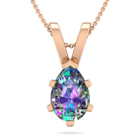 1 Carat Pear Shape Mystic Topaz Necklace In 14K Rose Gold Over Sterling Silver, 18 Inches