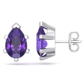 2 Carat Pear Shape Amethyst Stud Earrings In Sterling Silver