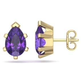 2 Carat Pear Shape Amethyst Stud Earrings In 14K Yellow Gold Over Sterling Silver