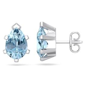 2 1/3 Carat Pear Shape Aquamarine Stud Earrings In Sterling Silver