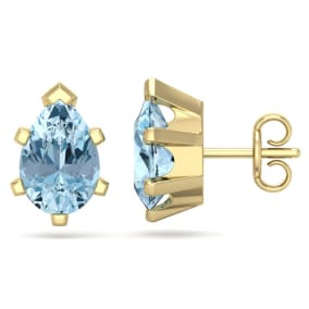 2 1/3 Carat Pear Shape Aquamarine Stud Earrings In 14K Yellow Gold Over Sterling Silver