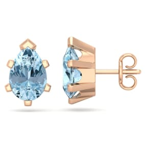 2 1/3 Carat Pear Shape Aquamarine Stud Earrings In 14K Rose Gold Over Sterling Silver