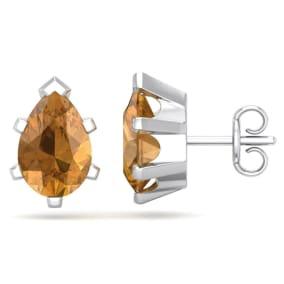 2 Carat Pear Shape Citrine Stud Earrings In Sterling Silver
