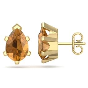 2 Carat Pear Shape Citrine Stud Earrings In 14K Yellow Gold Over Sterling Silver